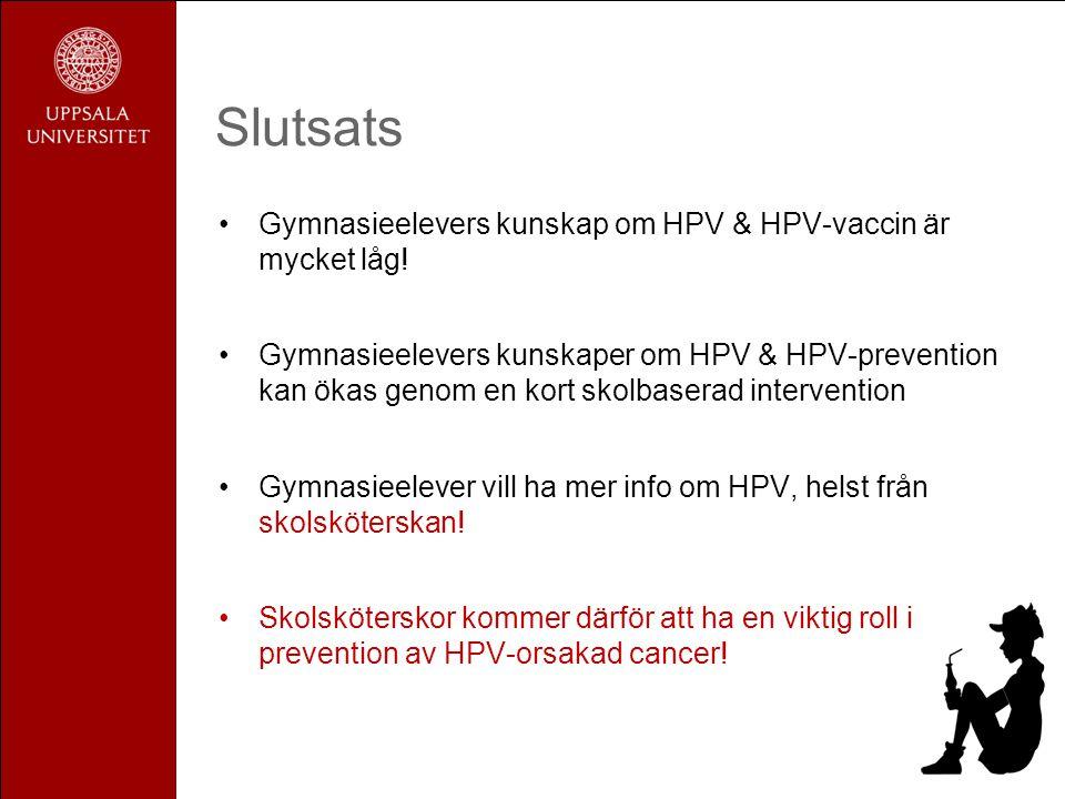Slutsats Gymnasieelevers kunskap om HPV & HPV-vaccin är mycket låg!