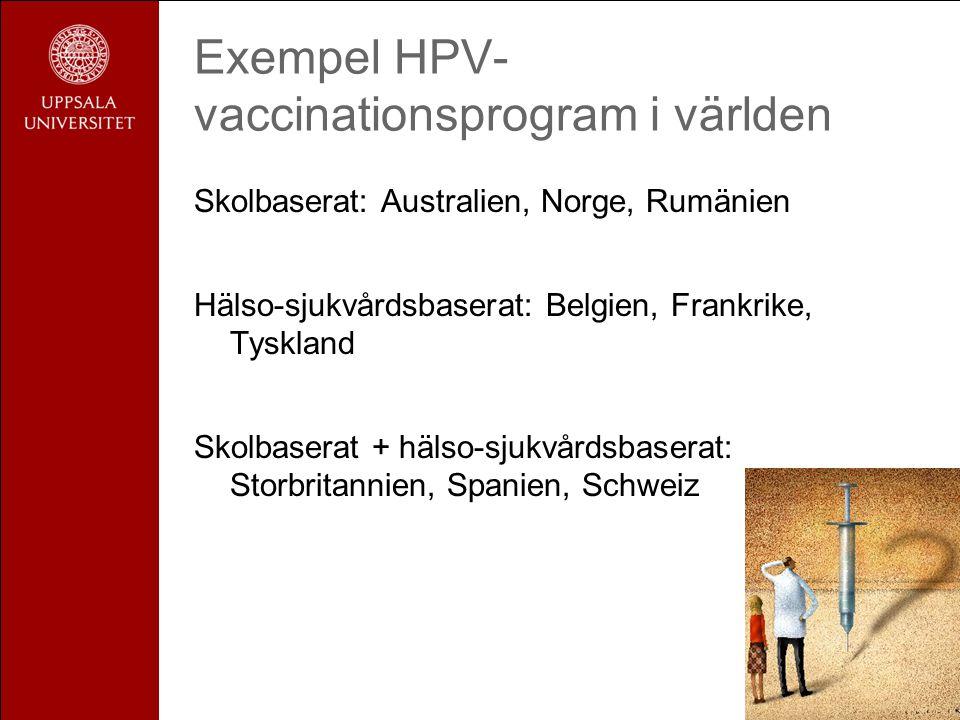 Exempel HPV-vaccinationsprogram i världen
