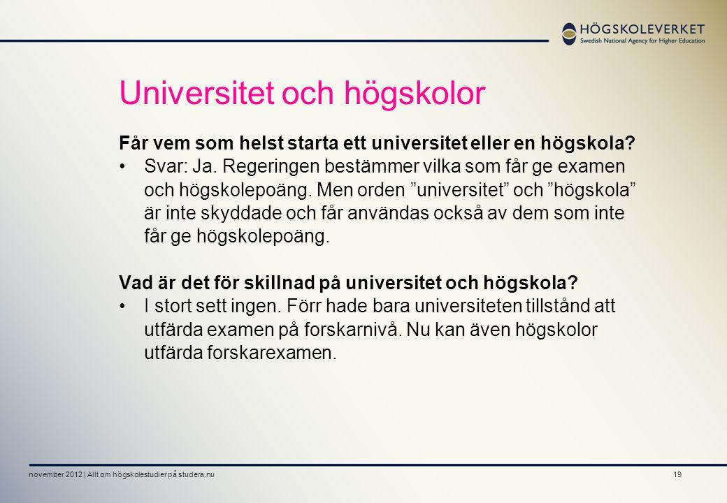 Universitet och högskolor