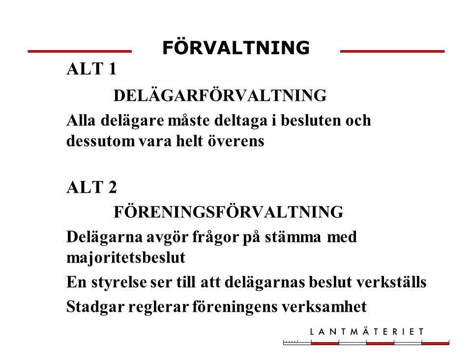 FÖRVALTNING ALT 1 DELÄGARFÖRVALTNING ALT 2