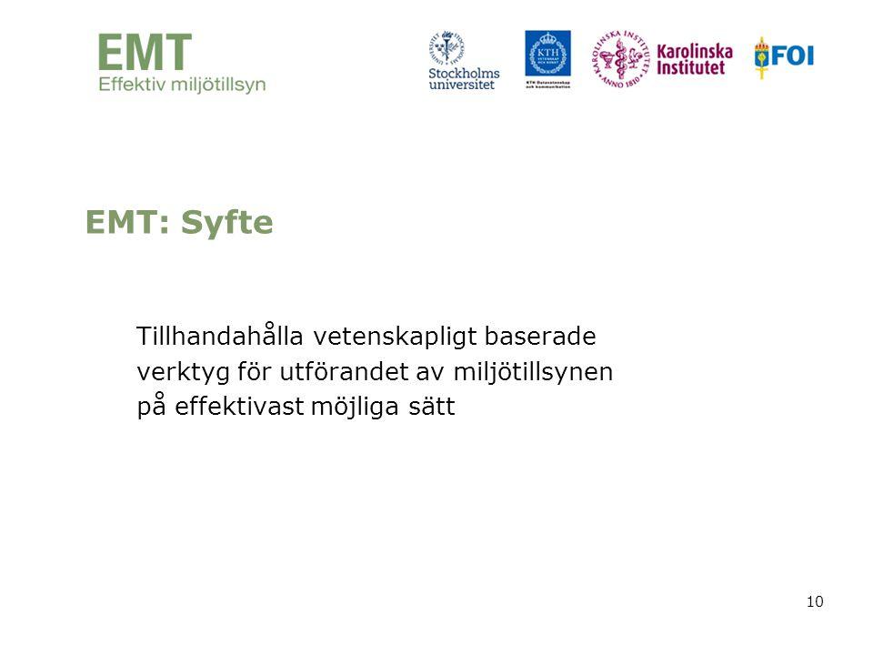 EMT: Syfte Tillhandahålla vetenskapligt baserade verktyg för utförandet av miljötillsynen på effektivast möjliga sätt.