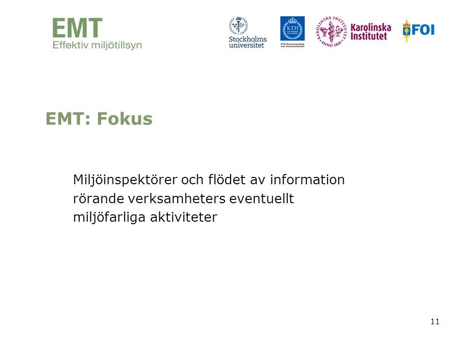 EMT: Fokus Miljöinspektörer och flödet av information rörande verksamheters eventuellt miljöfarliga aktiviteter.