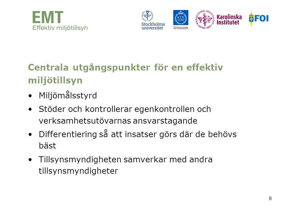 Centrala utgångspunkter för en effektiv miljötillsyn