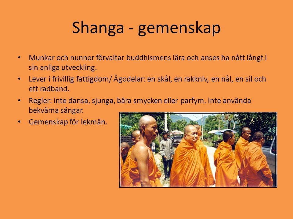 Shanga - gemenskap Munkar och nunnor förvaltar buddhismens lära och anses ha nått långt i sin anliga utveckling.
