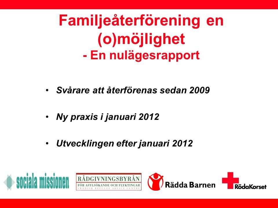 Familjeåterförening en (o)möjlighet - En nulägesrapport