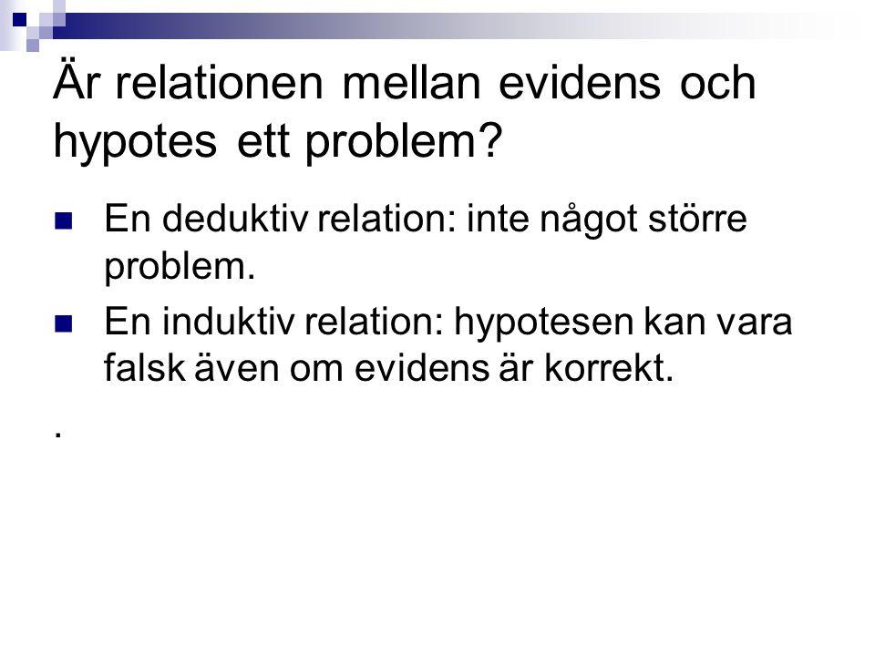 Är relationen mellan evidens och hypotes ett problem