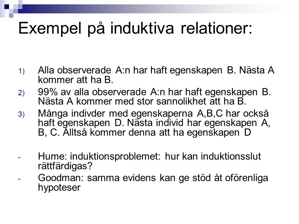 Exempel på induktiva relationer: