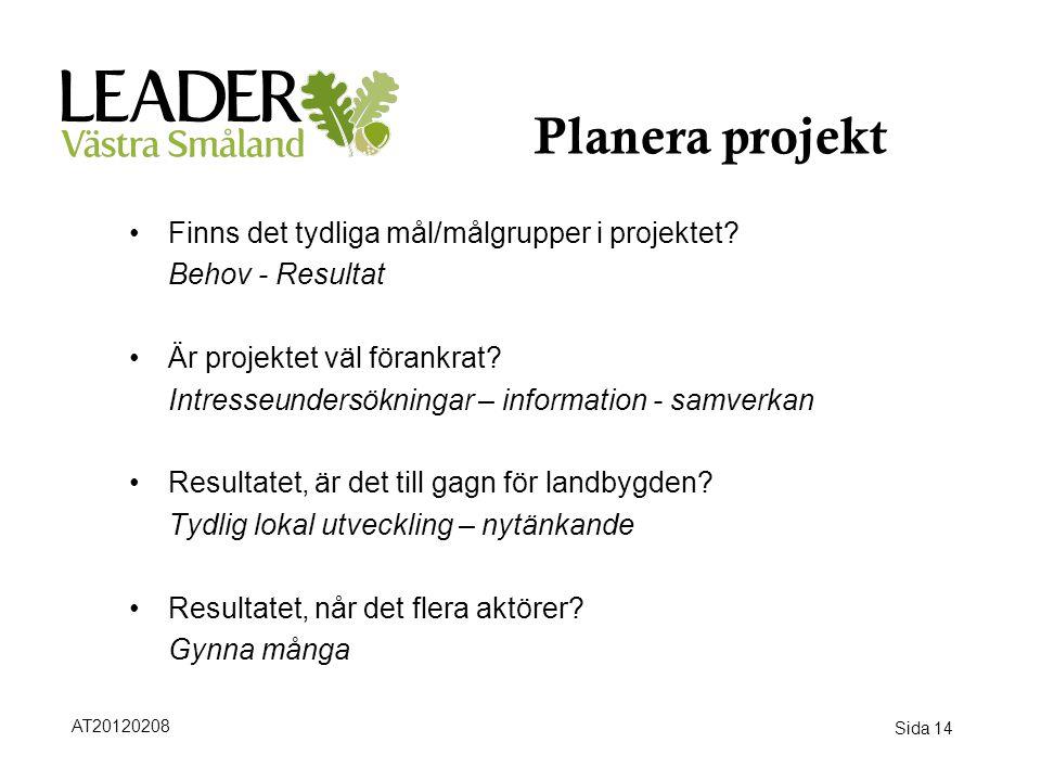 Planera projekt Finns det tydliga mål/målgrupper i projektet