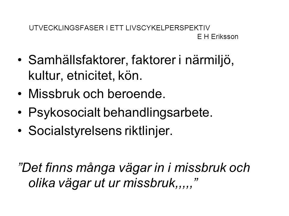 UTVECKLINGSFASER I ETT LIVSCYKELPERSPEKTIV E H Eriksson