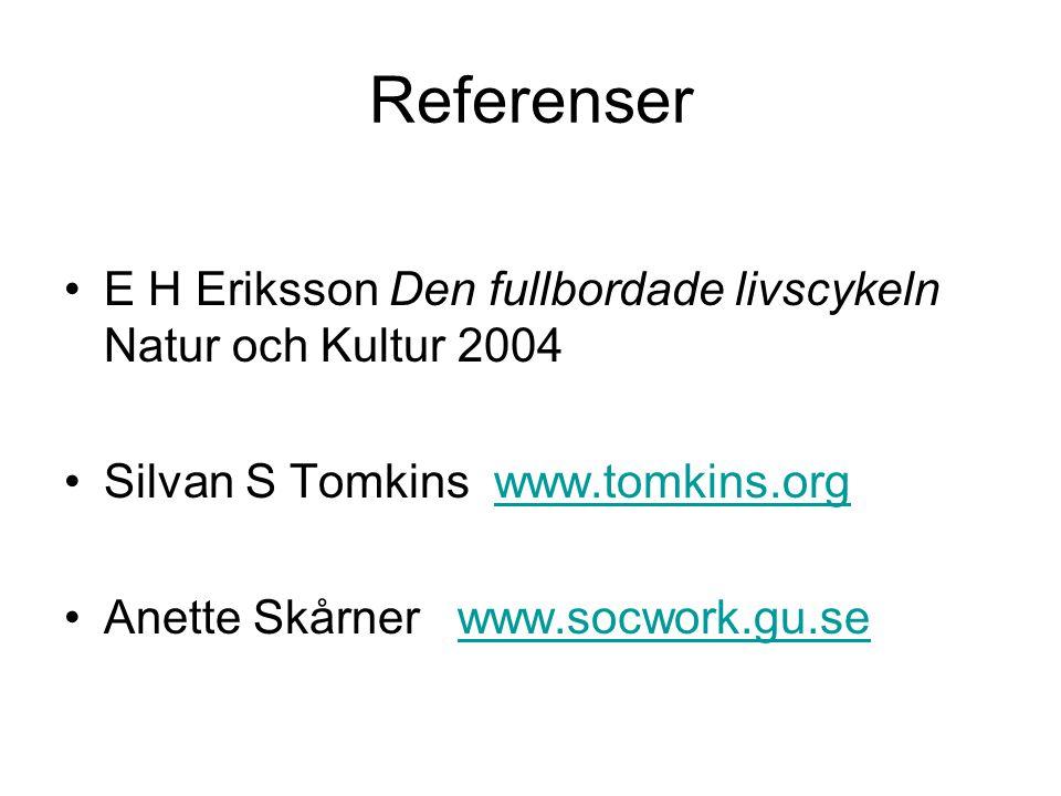 Referenser E H Eriksson Den fullbordade livscykeln Natur och Kultur 2004. Silvan S Tomkins www.tomkins.org.