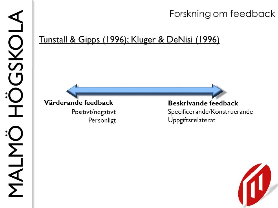 Tunstall & Gipps (1996); Kluger & DeNisi (1996)