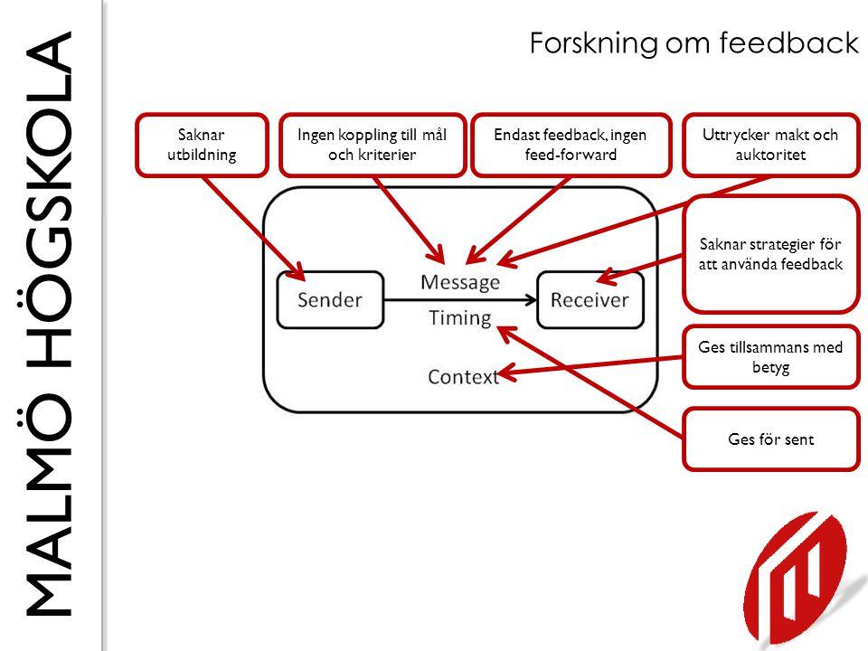 Forskning om feedback Saknar utbildning