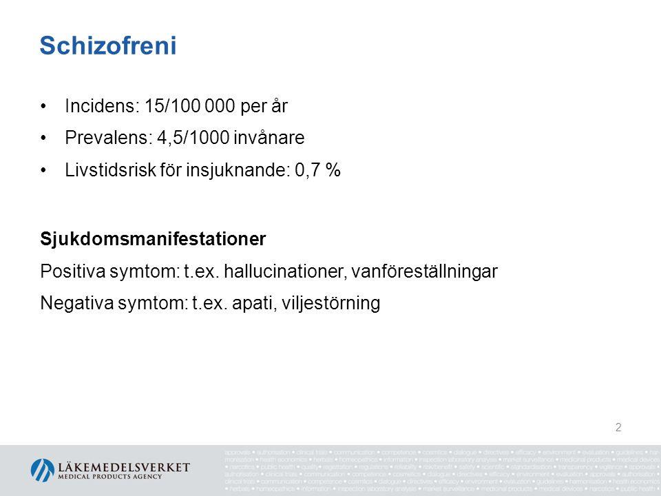 Schizofreni Incidens: 15/100 000 per år Prevalens: 4,5/1000 invånare