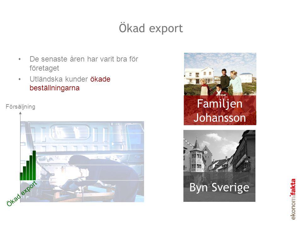 Ökad export Familjen Johansson Byn Sverige