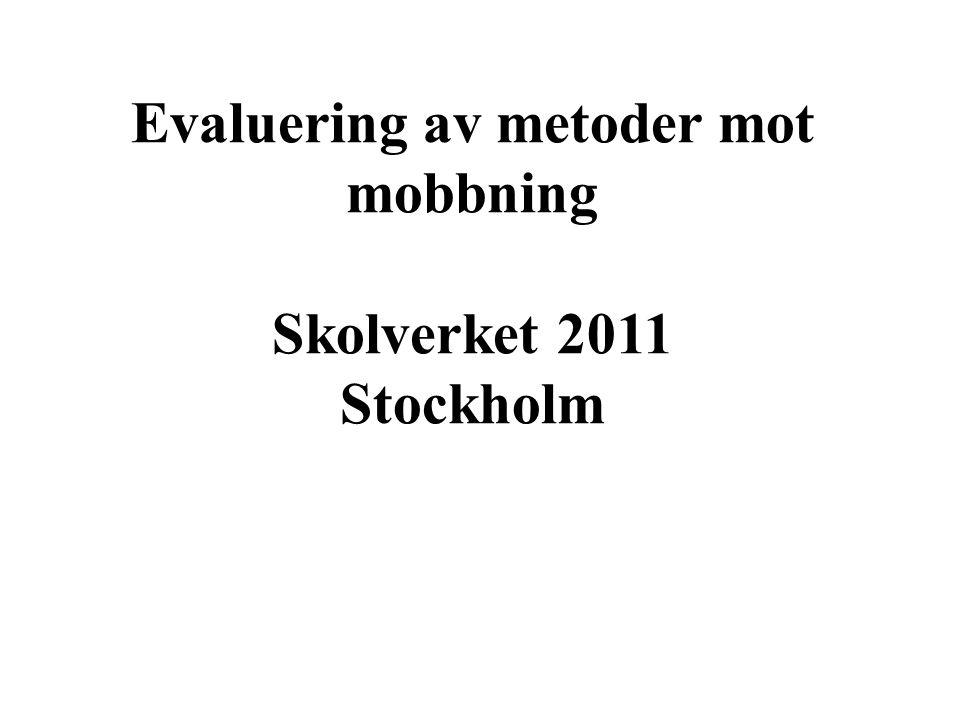 Evaluering av metoder mot mobbning