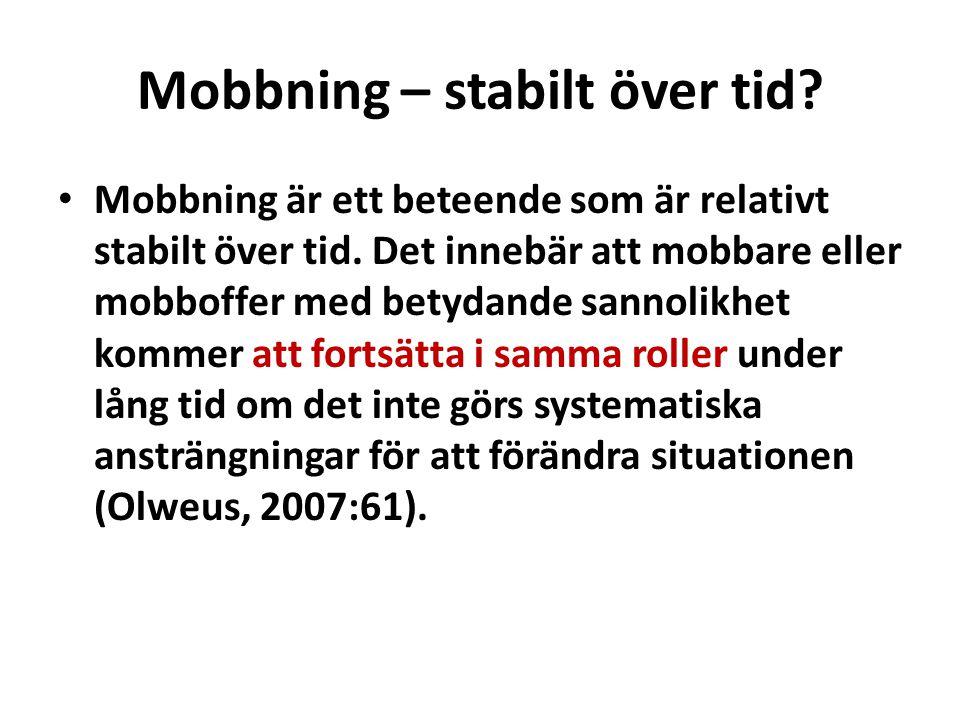 Mobbning – stabilt över tid