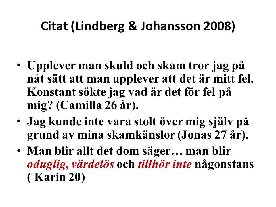 Citat (Lindberg & Johansson 2008)