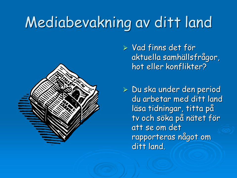 Mediabevakning av ditt land