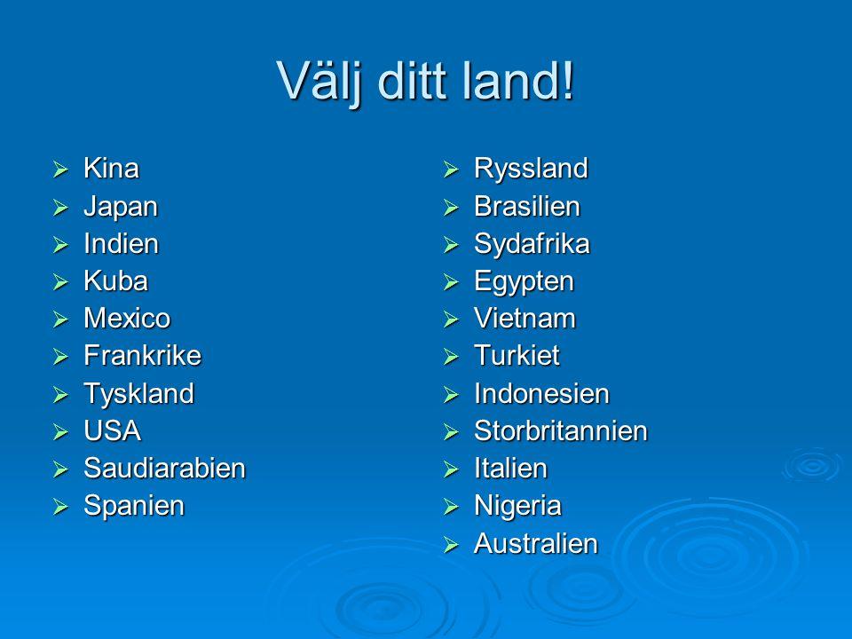 Välj ditt land! Kina Japan Indien Kuba Mexico Frankrike Tyskland USA