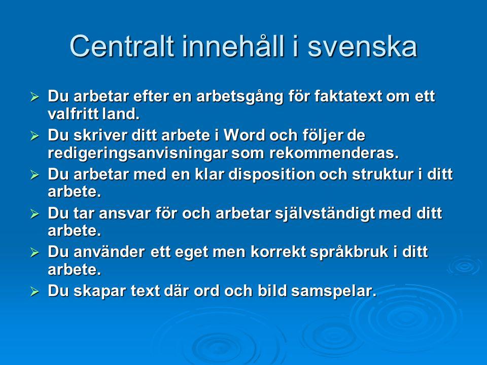 Centralt innehåll i svenska
