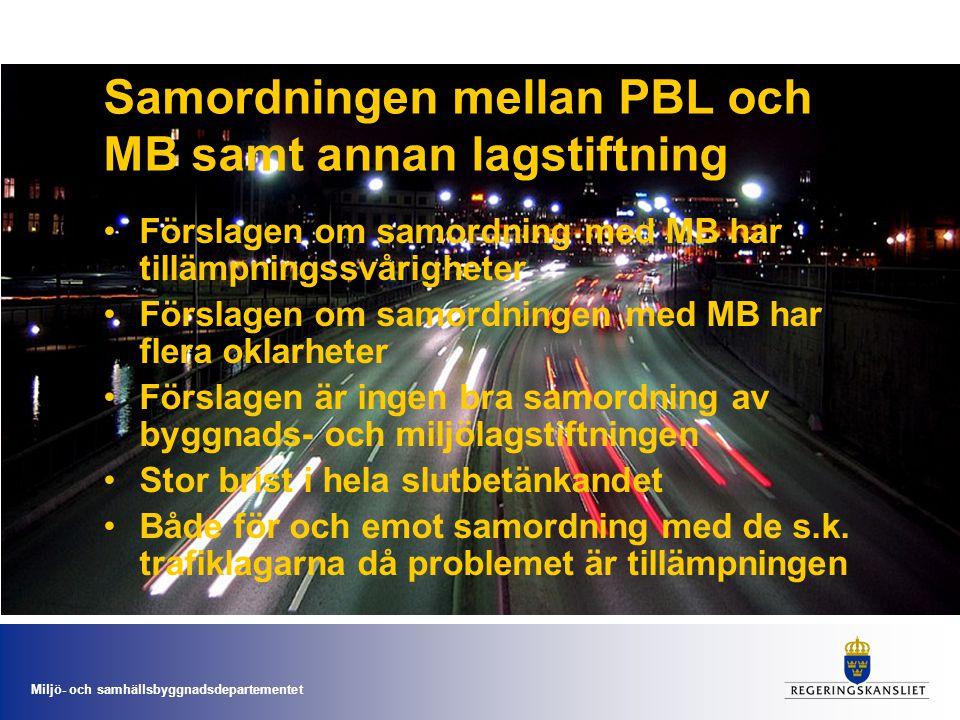 Samordningen mellan PBL och MB samt annan lagstiftning