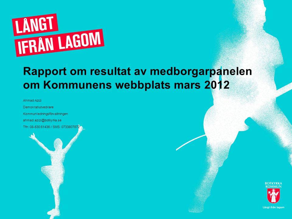 Rapport om resultat av medborgarpanelen om Kommunens webbplats mars 2012