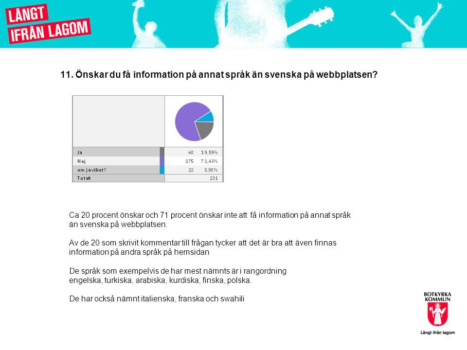 11. Önskar du få information på annat språk än svenska på webbplatsen