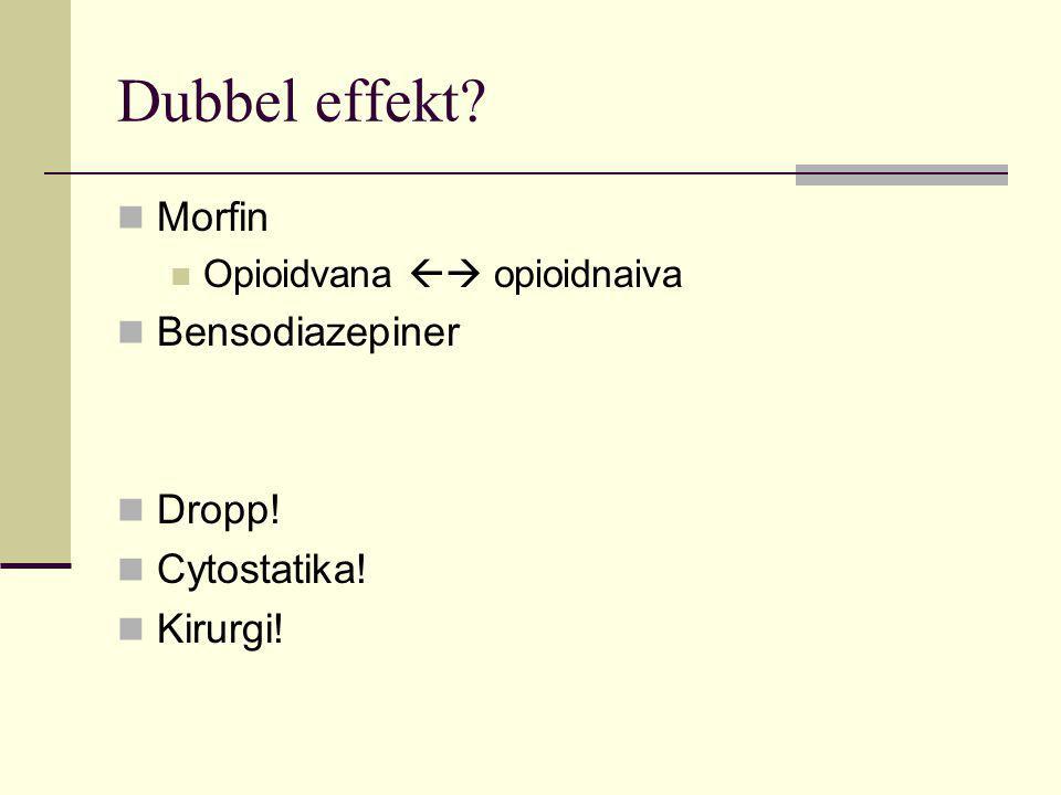 Dubbel effekt Morfin Bensodiazepiner Dropp! Cytostatika! Kirurgi!