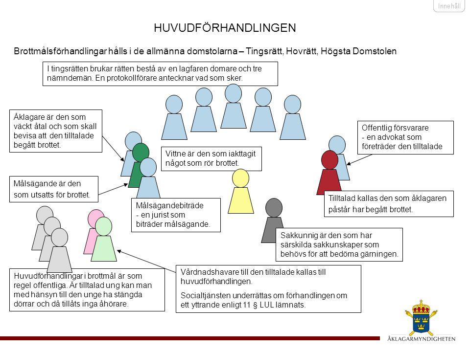 HUVUDFÖRHANDLINGEN Brottmålsförhandlingar hålls i de allmänna domstolarna – Tingsrätt, Hovrätt, Högsta Domstolen.
