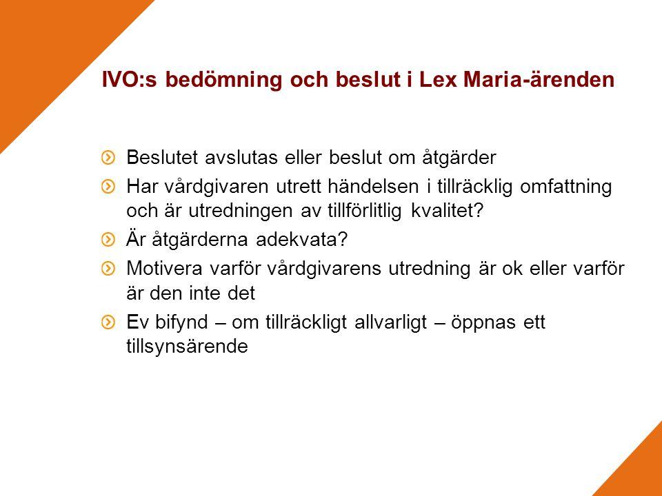 IVO:s bedömning och beslut i Lex Maria-ärenden