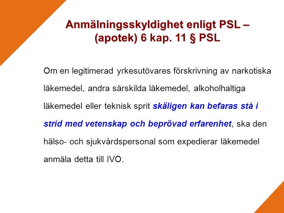 Anmälningsskyldighet enligt PSL – (apotek) 6 kap. 11 § PSL
