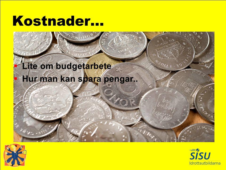 Kostnader… Lite om budgetarbete Hur man kan spara pengar..
