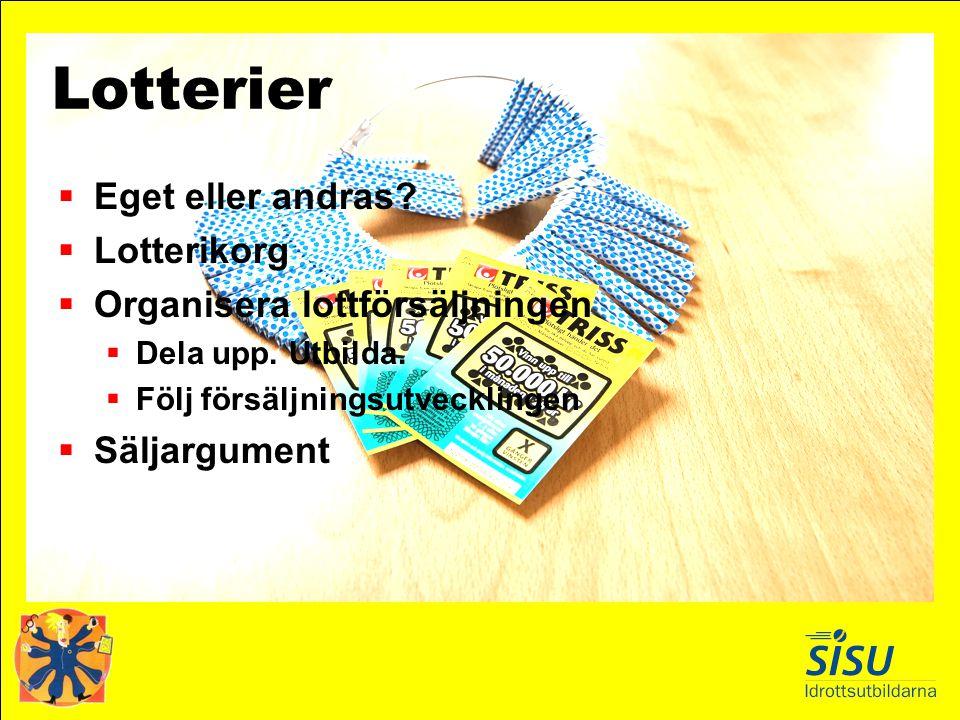 Lotterier Eget eller andras Lotterikorg Organisera lottförsäljningen