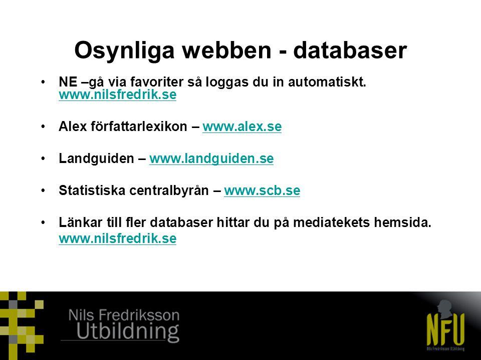 Osynliga webben - databaser