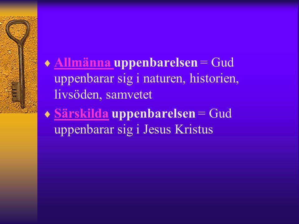 Allmänna uppenbarelsen = Gud uppenbarar sig i naturen, historien, livsöden, samvetet