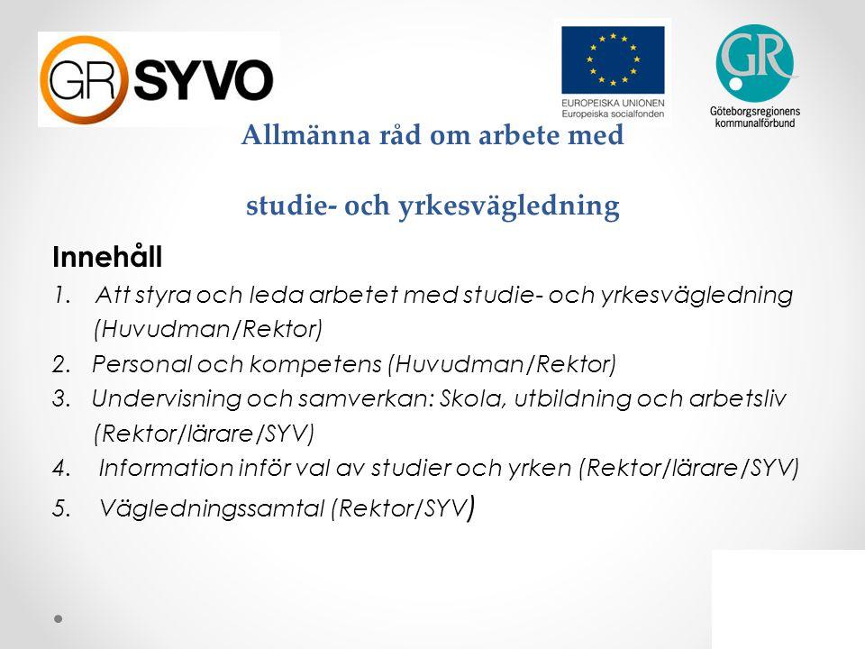 Allmänna råd om arbete med studie- och yrkesvägledning