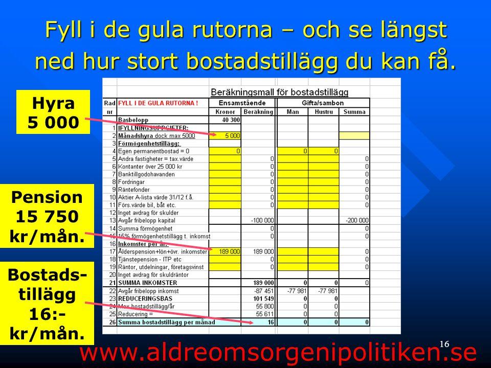 Bostads-tillägg 16:- kr/mån.