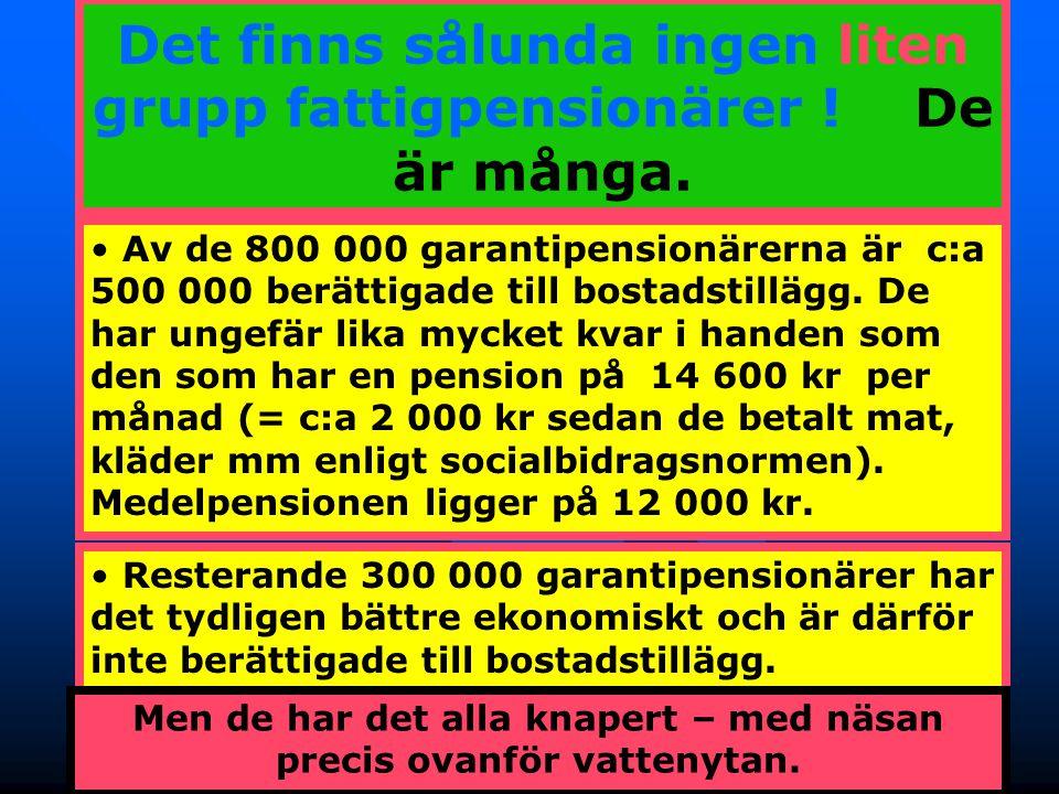 Det finns sålunda ingen liten grupp fattigpensionärer ! De är många.