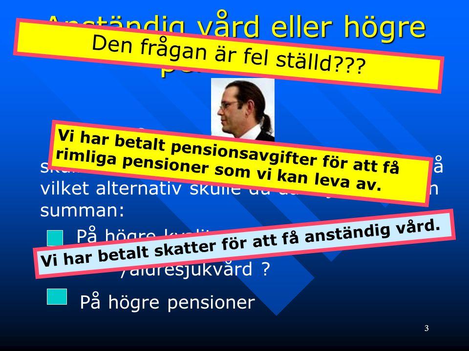 Anständig vård eller högre pensioner.