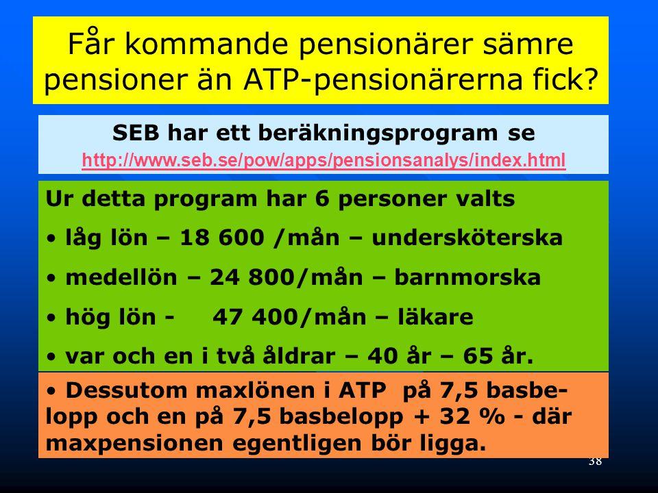 Får kommande pensionärer sämre pensioner än ATP-pensionärerna fick