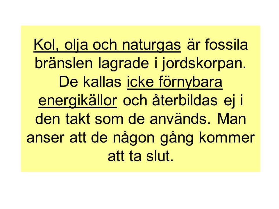 Kol, olja och naturgas är fossila bränslen lagrade i jordskorpan