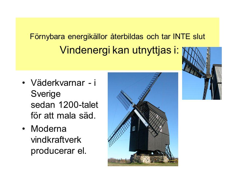Väderkvarnar - i Sverige sedan 1200-talet för att mala säd.