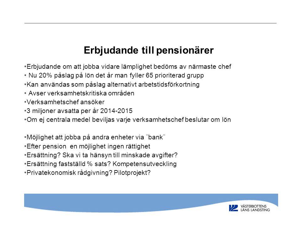 Erbjudande till pensionärer