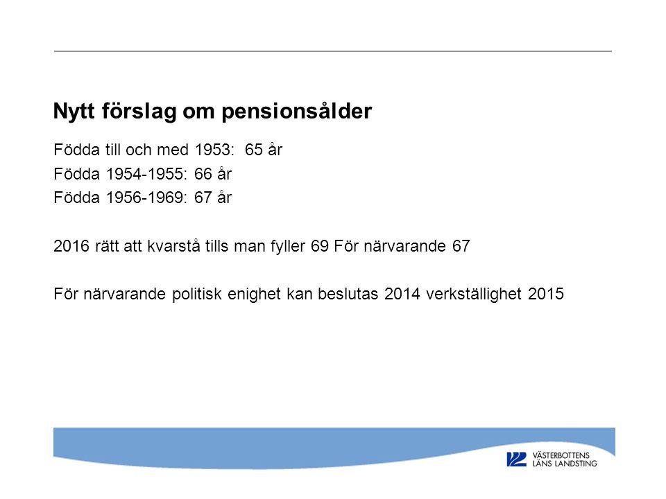 Nytt förslag om pensionsålder
