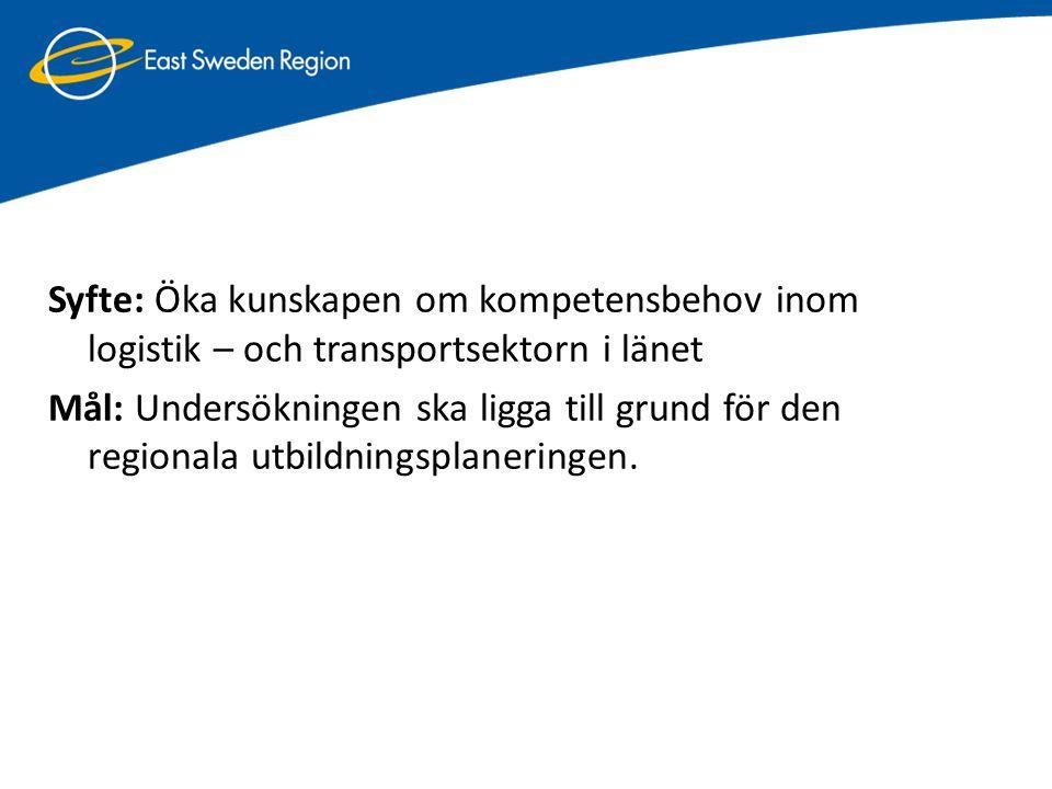 Syfte: Öka kunskapen om kompetensbehov inom logistik – och transportsektorn i länet Mål: Undersökningen ska ligga till grund för den regionala utbildningsplaneringen.