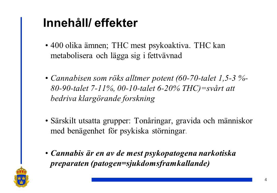 Innehåll/ effekter 400 olika ämnen; THC mest psykoaktiva. THC kan metabolisera och lägga sig i fettvävnad.