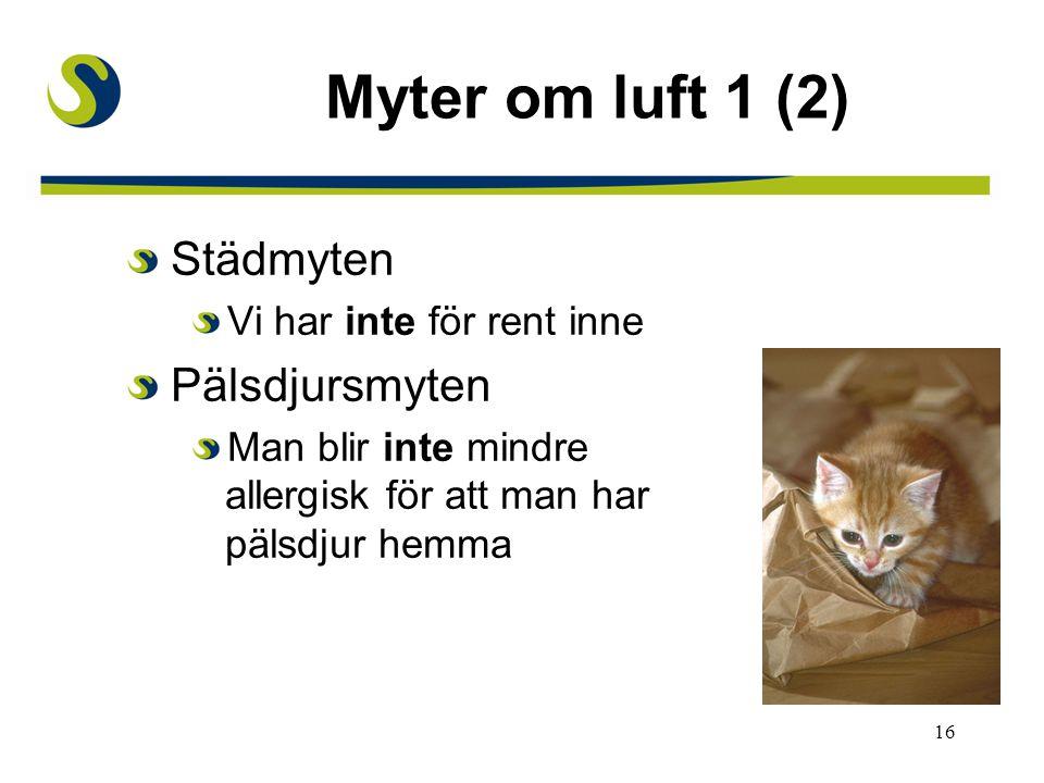 Myter om luft 1 (2) Städmyten Pälsdjursmyten Vi har inte för rent inne