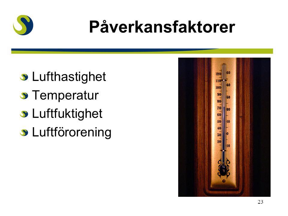 Påverkansfaktorer Lufthastighet Temperatur Luftfuktighet