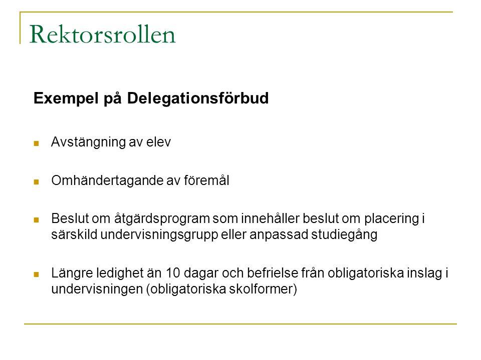 Rektorsrollen Exempel på Delegationsförbud Avstängning av elev