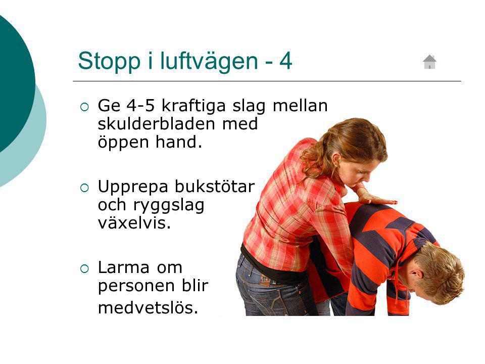 Stopp i luftvägen - 4 Ge 4-5 kraftiga slag mellan skulderbladen med öppen hand.